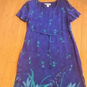 BlueTurquoise Dress Barn long dress flower border8